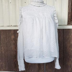 Zara white smocked blouse cold shoulder size L